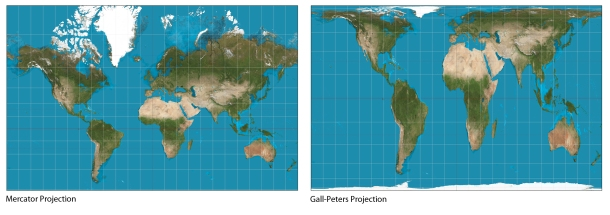 Figure 1: Mercator projection (left) and the Gall-Peters Projection (right).