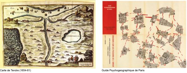Figure 2: Comparison of the Carte de Tendre (left) and the Guide Psychogeographique de Paris (right) (Author, 2012)